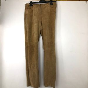 DKNY Suede Leather Pants Womens 10 Brown Trousers